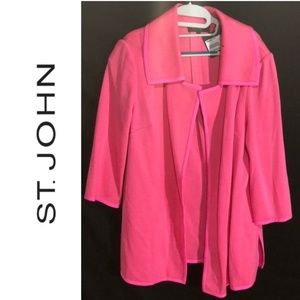 NWT ST JOHN COLLECTION Electric Pink Blazer Coat